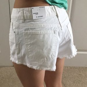 Forever21 distressed white denim boyfriend shorts