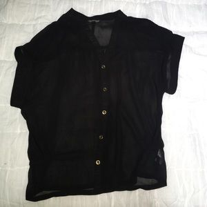 TOPSHOP Black Sheer Short-sleeve Button-down