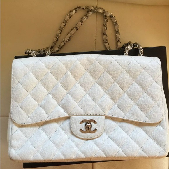 2c923966ac4a CHANEL Bags | Classic Jumbo Single Flap Bag White | Poshmark