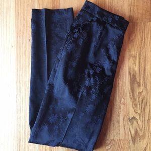 Ann Taylor- Black and Blue Floral Pants
