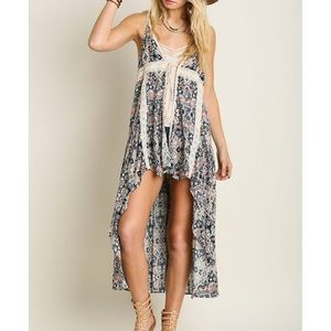 Bare Anthology Tops - Tie Front Printed Maxi Tank Duster