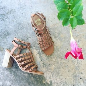 Cognac Faux Leather Studded Block Heel Sandal