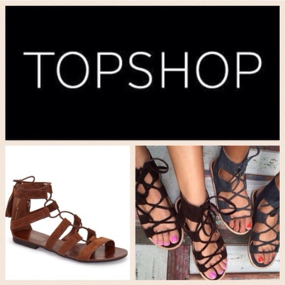 5711ae97688 TopShop suede lace-up gladiator sandals. M 5737a35736d594adc200d2b7