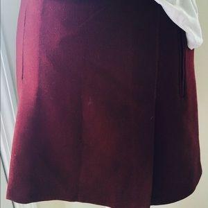 wine red skirt