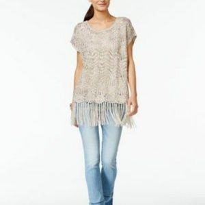 INC International Concepts Sweaters - INC International Concepts Fringe Metallic Top