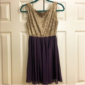 Alythea gold sequin and purple dress