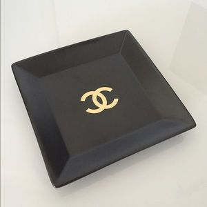 CHANEL Other - Black & Gold square vanity jewelry tray storage