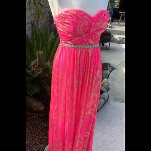 City Studio Dresses & Skirts - Hot Pink Long strapless Dress size 7