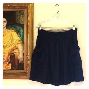 H&M Navy Blue 2-Layer Elastic Waist Skirt Sz L