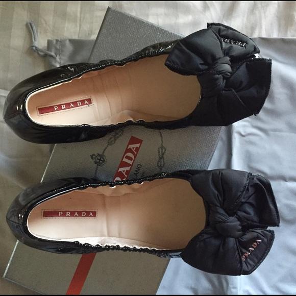 outlet store 52150 7a9d3 Prada patent puffer bow ballerina