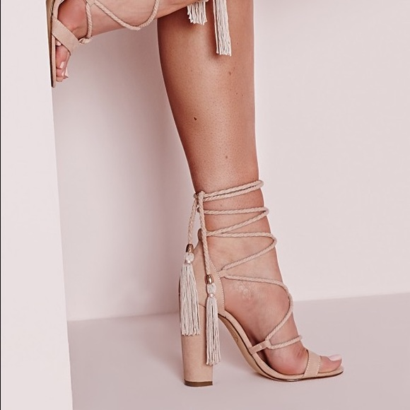 8c649b57569 Lace Up Tassel Nude Heels ((No Trade!))