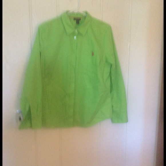 90% off US polo association Tops - Bright green button down shirt ...