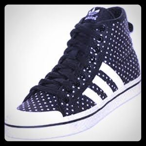 Adidas polka dot high tops