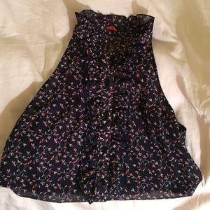 Ruffled high neck navy printed blouse