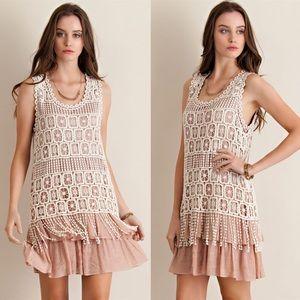 Bare Anthology Dresses & Skirts - Crochet Overlay Ruffle Swing Dress