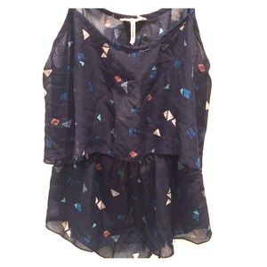 Kirra Navy blue with shapes blouse