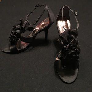 DSW black satin ruffle heel