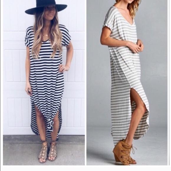 cc340be4ed Striped side slit maxi dress Shirtdress
