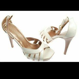 Colin Stuart Shoes - Colin Stuart White Ankle Strap High Heel Sandals 9