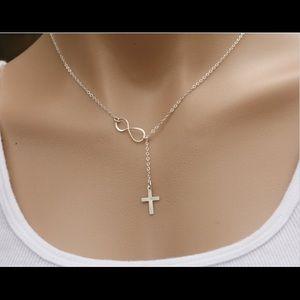 a08493d5fa0 Jewelry - Silver Tone Sideways Cross Infinity Necklace.