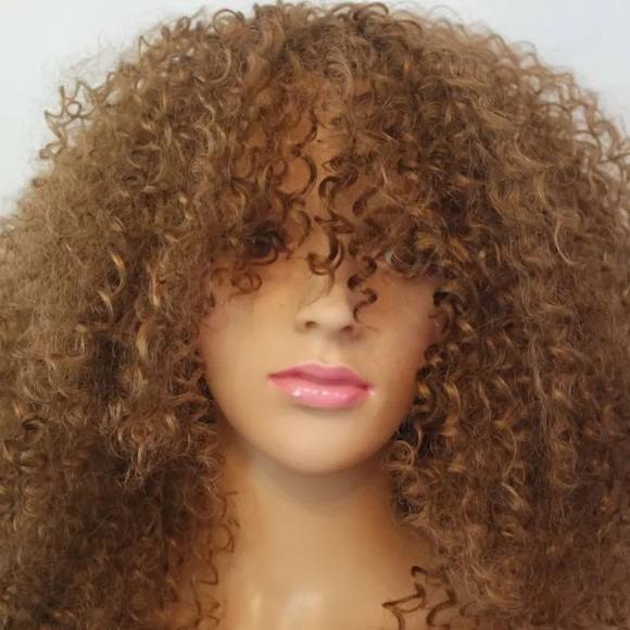 Synthetic Kinky Curly Light Brown 16