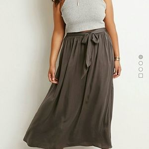 Forever 21 Dresses & Skirts - Olive belted maxi skirt - XL