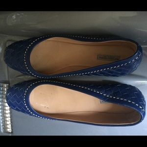 Bottega Veneta Blue Woven-Leather Ballet Flats