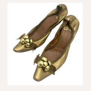 Chloe Shoes - Chloe Gold ballerina on Heel