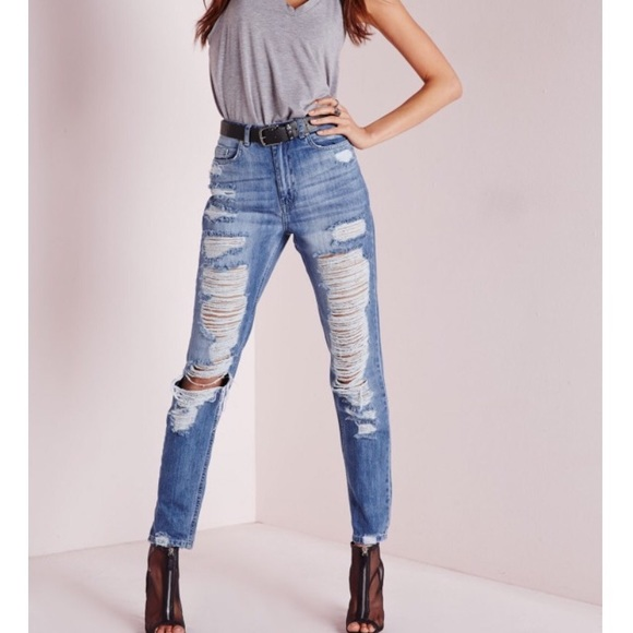 Missguided Pants - High waisted rip jeans