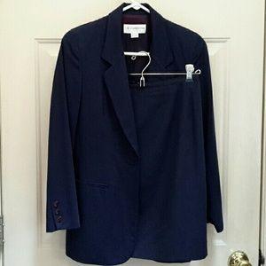 2 piece navy blue skirt and blazer