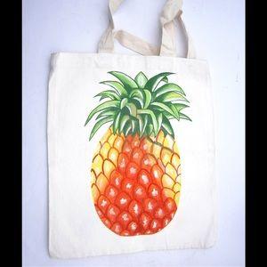 Handbags - Hand Painted Pineapple Canvas Shopping Bag