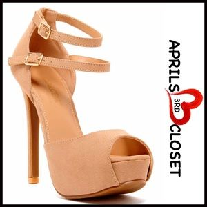 Boutique Shoes - ❗1-HOUR SALE❗Nude High Heels Ankle Strap