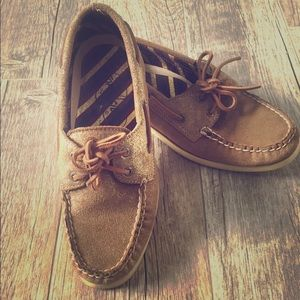 Sperry Top sider boat shoe women 8.5 gold leather