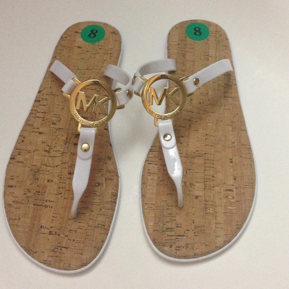 ad9cac9e0ac1 New Michael Kors White Jelly Cork Sandals