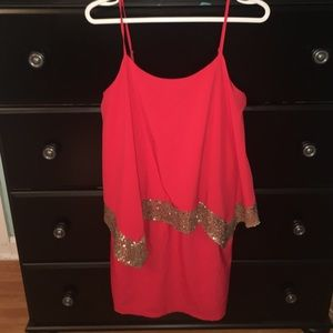 Red/ gold sequin dress
