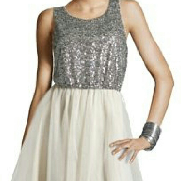 5037c9aef263c Divided Dresses   H M Silver Sequin And Cream Tulle Dress   Poshmark