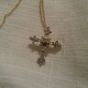 Jewelry - 14 kt gold and diamond cross pendant