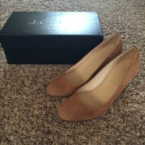 J. Crew Martina suede wedges, burnt sienna, size 6