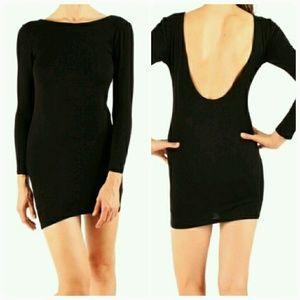 Atid Clothing Dresses & Skirts - Long Sleeve Black Deep Scoop Backless Mini Dress