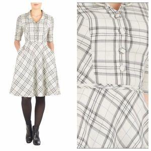 eshakti Dresses & Skirts - NWOT eShakti Shawl Collar Cotton Check Shirtdress