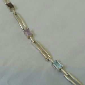 Jewelry - Rainbow stone bracelet. Sterling 7.5 inches.