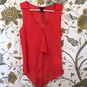 H&M sheer red blouse