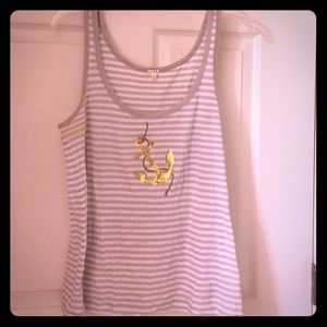 J.Crew grey and white tank with sequin anchor