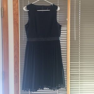 H&M Pleated Black Dress with Faux Leather