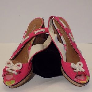 Sperry Top-Sider Shoes - Pink Sperry Topsider Cork Wedges.