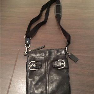 Coach black leather cross body swing pack