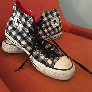 White Checkered Converse High Tops Sz