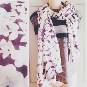 Accessories - Lavender purple and cream ivy leaf long scarf