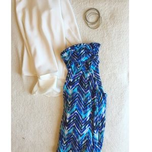  multi blue chevron print maxi skirt