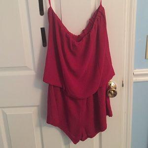 Red sleeveless romper